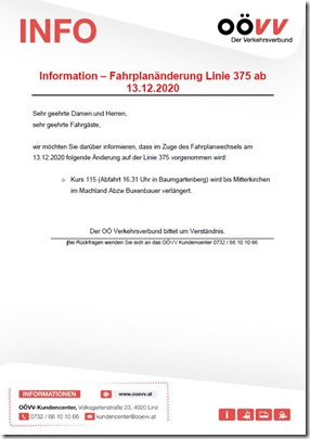 Fahrgastinformation ab 13.12.2020